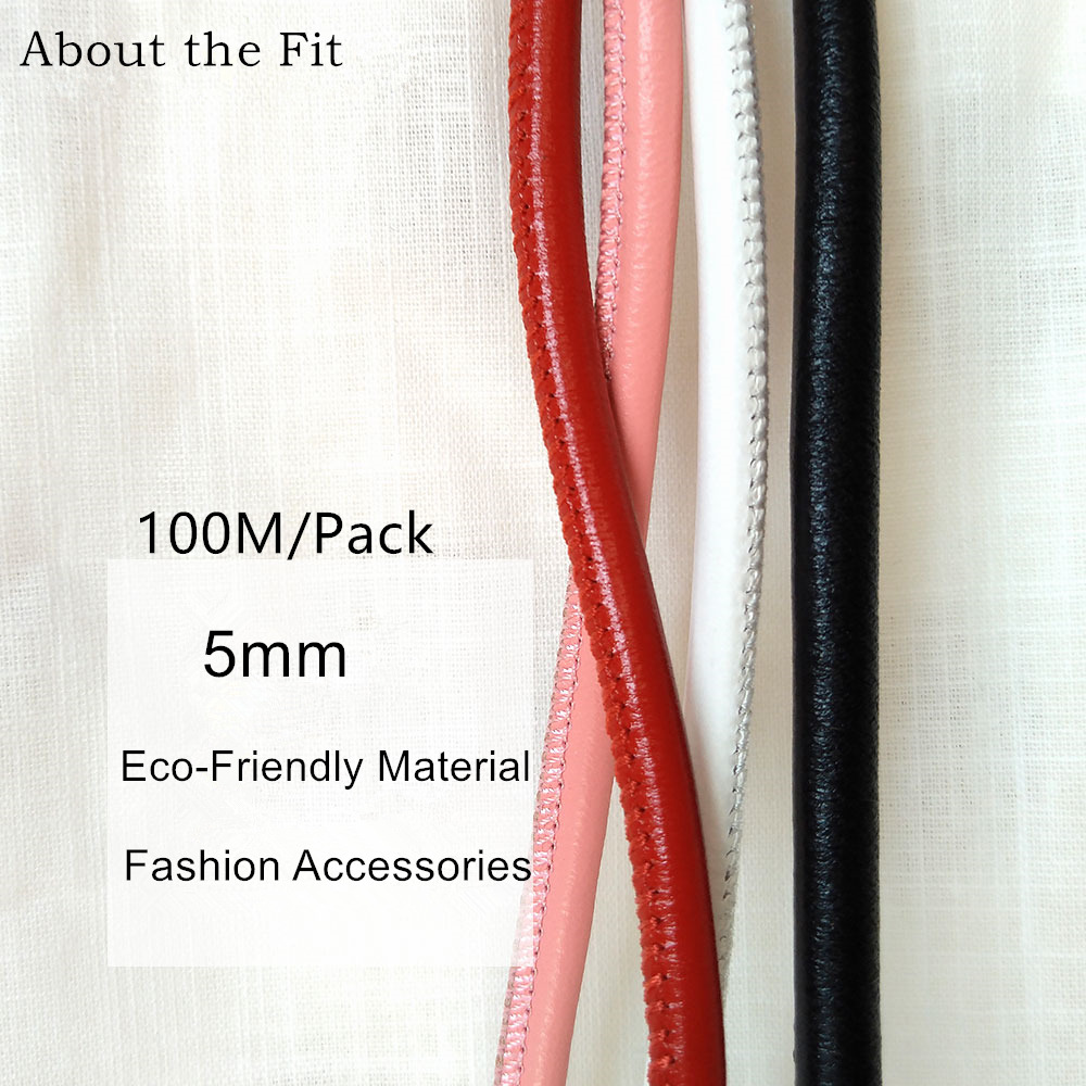 5mm 100M Stitched Lamb Leather Cords With Cotton Core Sutural Sheepskin Real Leather Ropes For Bracelet