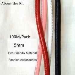5mm 100M Gestikt Lam Lederen Koorden Met Katoen Kern Sutural Schapenvacht Real Leather Touwen Voor Armband Ketting Sieraden maken