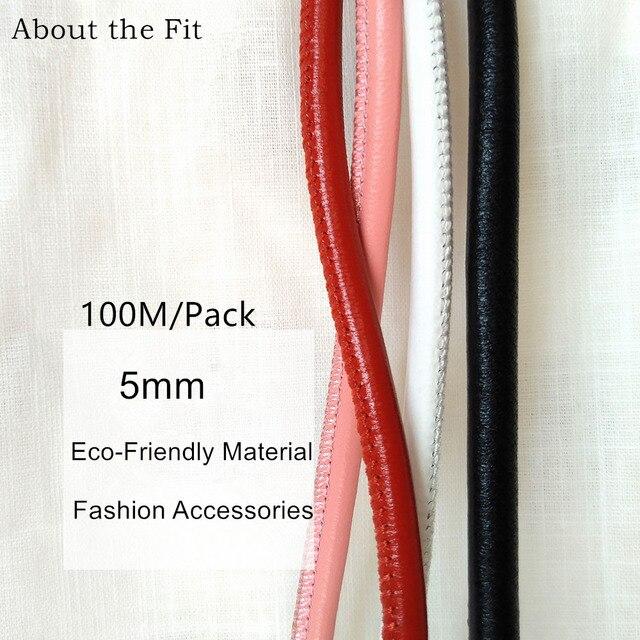 Cordes en cuir dagneau cousues 5mm 100M avec noyau en coton, cordes en cuir véritable en peau de mouton pour Bracelet, fabrication de bijoux