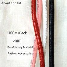 Cuerdas de piel de cordero cosida de 5mm y 100M con núcleo de algodón, cuerdas suturales de piel de oveja Real para pulsera, collar, fabricación de joyas
