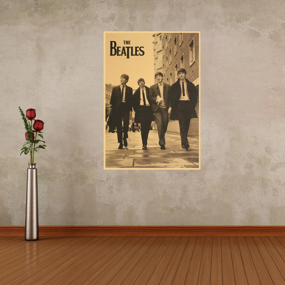 3d poster design online - The Beatles Kraft Paper Posters Wall Stickers Cafe Bar Poster Retro Poster Decorative Painting Retro