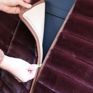 Image 4 - 2 Pieces Winter Plush Car Seat Cover Luxury Artificial Rabbit Fur Car Seat cushion Cloac Warm beautiful