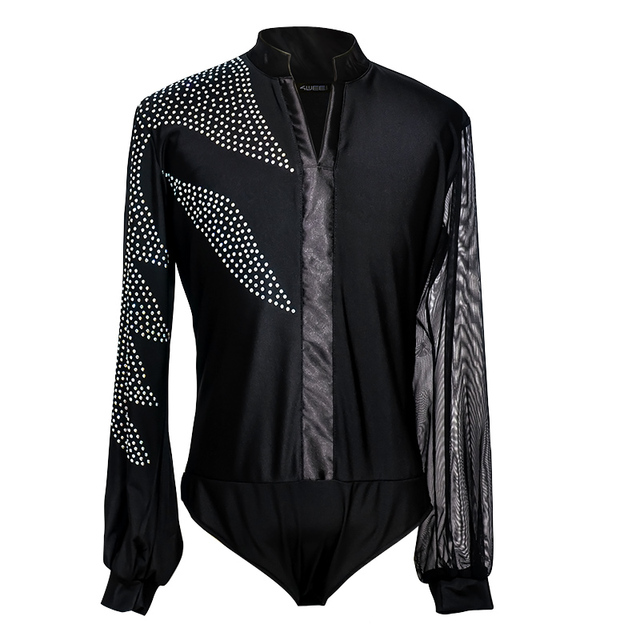 Latin Dance Shirts Men Rhinestone Net Yarn Long Sleeve Competition Men's Dance Top Cha Cha Rumba Samba Dancewear Mens DNV10992