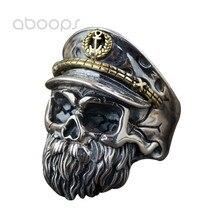Punk 925 Sterling Silver Bearded Skull Head Ring for Men Boys Adjustable Free Shipping newest design fire flaming skull ring 925 sterling silver cool fashion men biker skull head ring