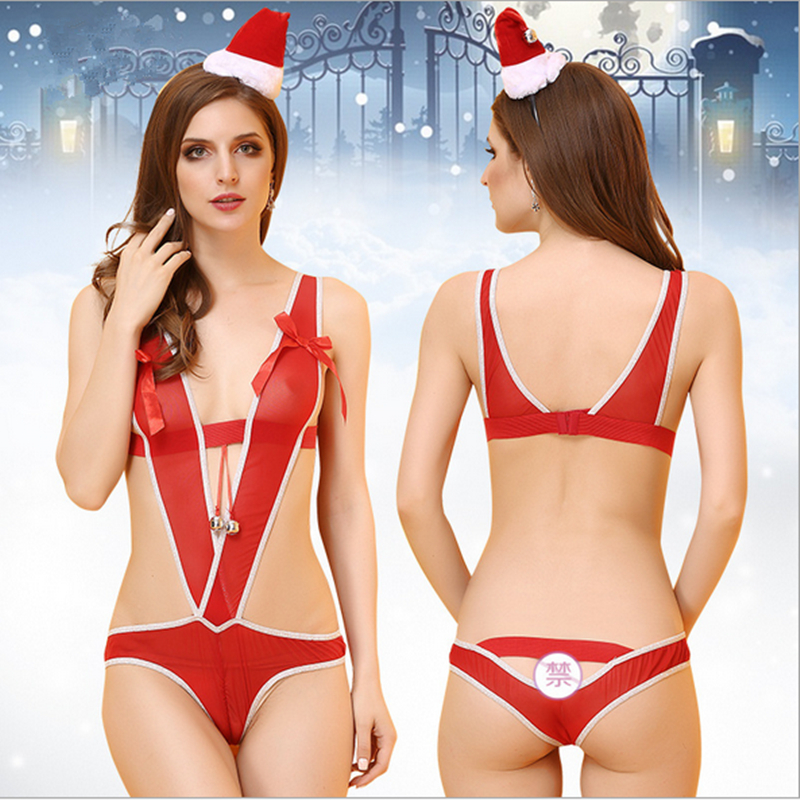 Good Quality Sexy Lingerie Pajama Sets Baby Doll Perspective Christmas dress Exotic Apparel For Women