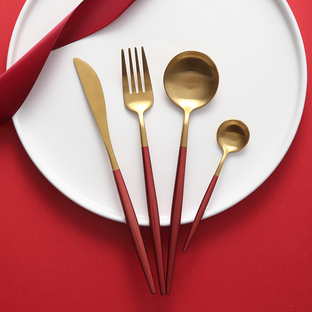 Stainless Steel Flatware Red Gold Set