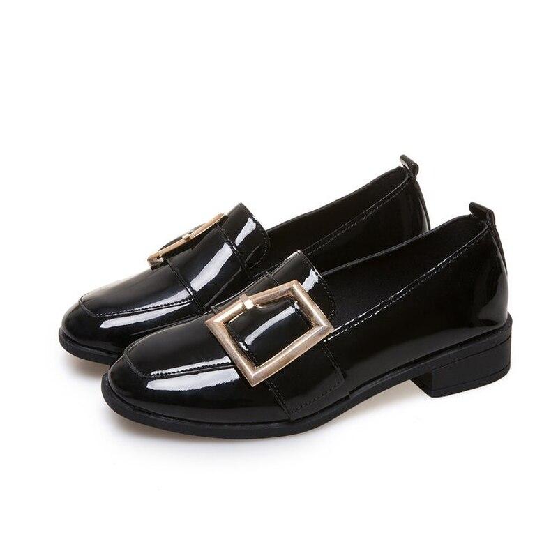 2018 Autumn New Women's Shoes Pumps Woman Pu Leather Fashion Casual Shoes Low-top Square Head Elegant Temperament Non-slip