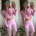 2017 quick sell big size women solid color banded and leisure suit exposed umbilical two sets