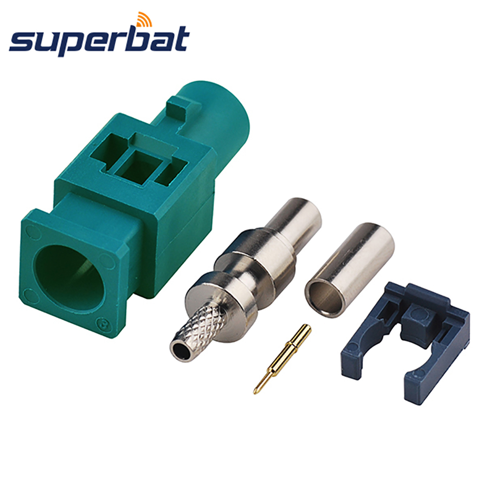 Superbat Fakra Z Waterblue/5021 Male Plug RF Connector Neutral Coding Long Version Crimp For Cable RG316 RG174 LMR100 DAB+Radio
