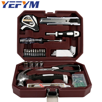 66pcs/set household tool set hammer needle nose pliers allen wrench socket screwdriver electric pen tape measure tools