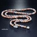 Borla largo collar de perlas de agua dulce de las mujeres, natural real nupcial collar de perlas cuerpo capa multi color para las niñas mejor amigo