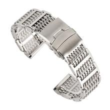 Lüks gümüş/siyah 20/22/24mm Mesh paslanmaz çelik saat kayışı ayarlanabilir katlama toka erkekler saatler kayış yedek bilezik
