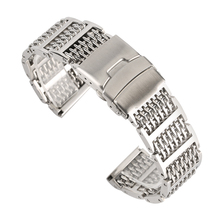 Luxury Silver/Black 20/22/24mm Mesh Stainless Steel Watch Band Adjustable Fold Clasp Men Watches Strap Replacement Bracelet