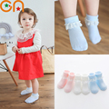 3 pairs / lot Baby socks Children Girls fashion cotton Solid Wild Lace socks Girls Summer kids Infant Silicone non-slip socks CN
