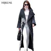 High Quality Winter Long Coat Women Ethnic Fashion X Long Outerwear Thick Floral Print Duck Down