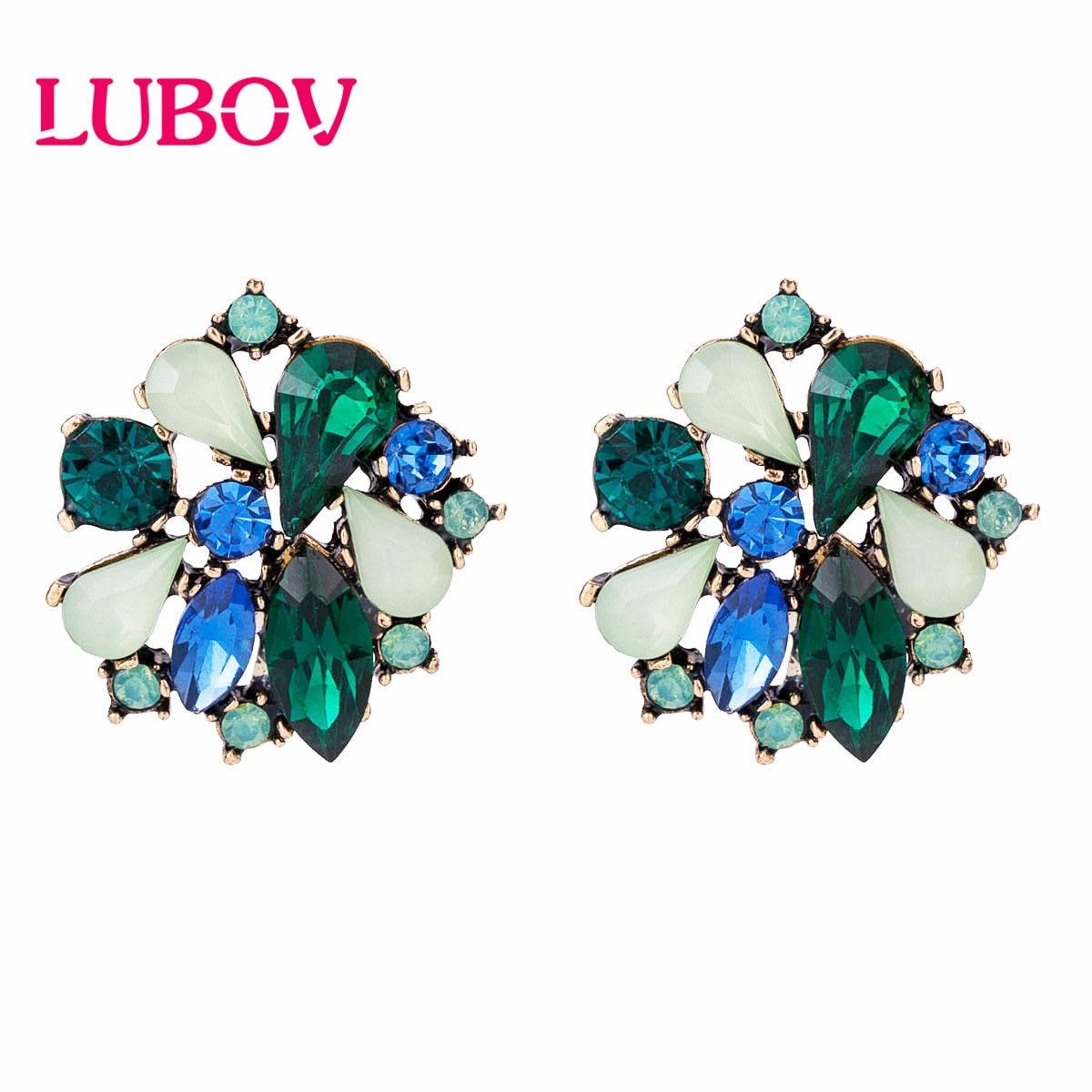 LUBOV Green colorful Flower Rhinestone Stud Earrings Anti Gold Color Piercing Earrings Trendy Women Wedding Party Jewelry