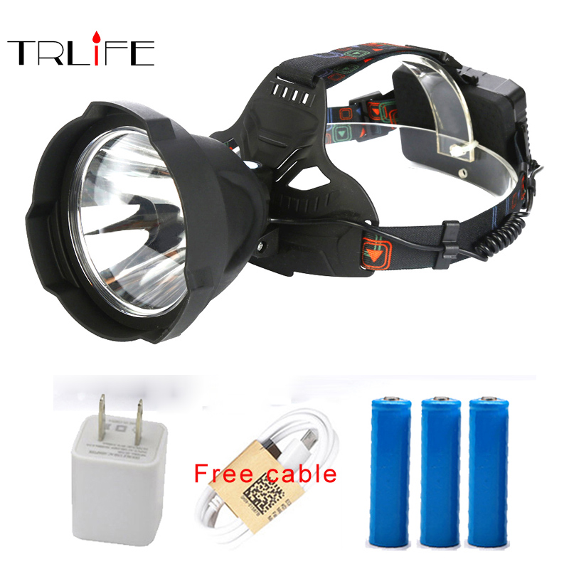 Super bright Headlight USB Rechargeable LED Headlamp Head Lamp Powerful Waterproof Outdoor Lighting Headlight by 3*18650 battery