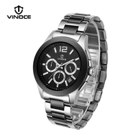 VINOCE Sports Noctilucent Multifunction Men Watches Luxury Stainless Steel Band Chronograph Watch 50 M Waterproof Reloj