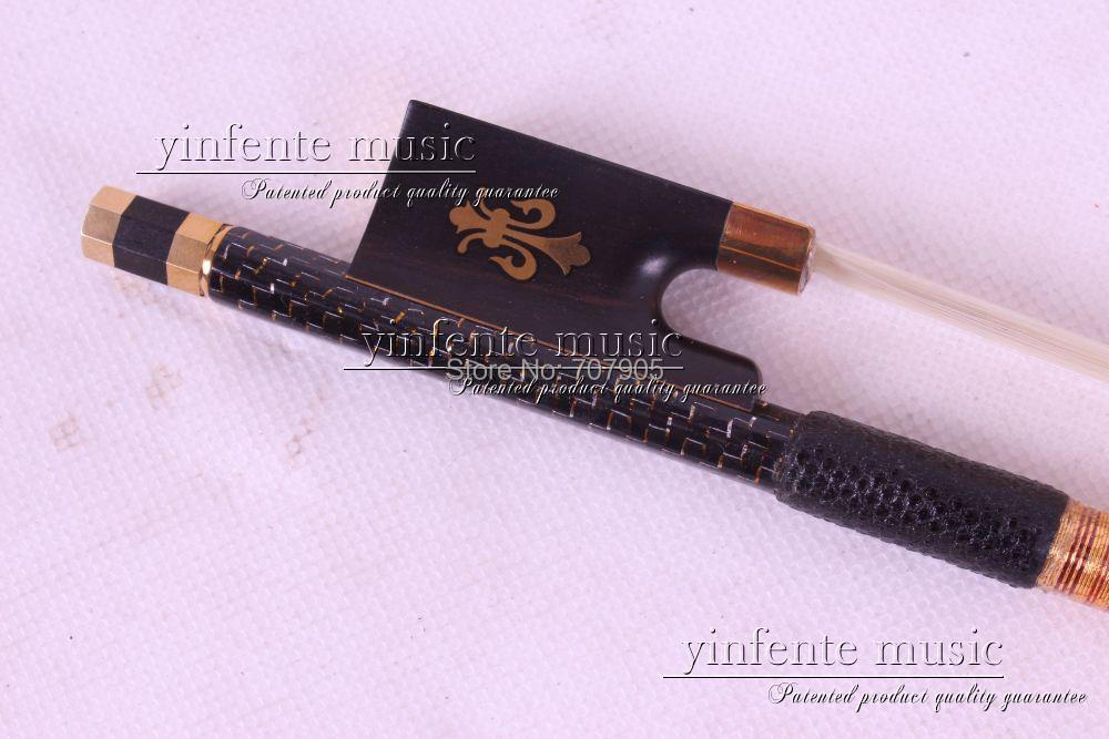 1 pcs Carbon Fiber Wood Violin Bow 4/4 Straight Pretty inlay High Quality # R 015 free shipping 4 4 size 430c pernambuco cello bow high quality ebony frog with shield pattern white hair violin parts accessories