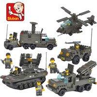 Sluban 956Pcs Military Tank Building Blocks Enlighten Bricks Fighter Battle Army Troops 3D Construction Toys For Children