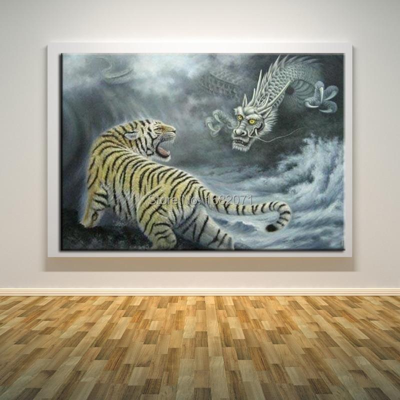 Современная абстрактная картина маслом тигра и дракона на холсте китайские боксерские картины на холсте для декора гостиной