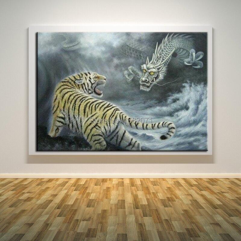 Art abstrait moderne tigre et Dragon combat peinture à l'huile sur toile le boxeur chinois peintures sur toile pour salon décor