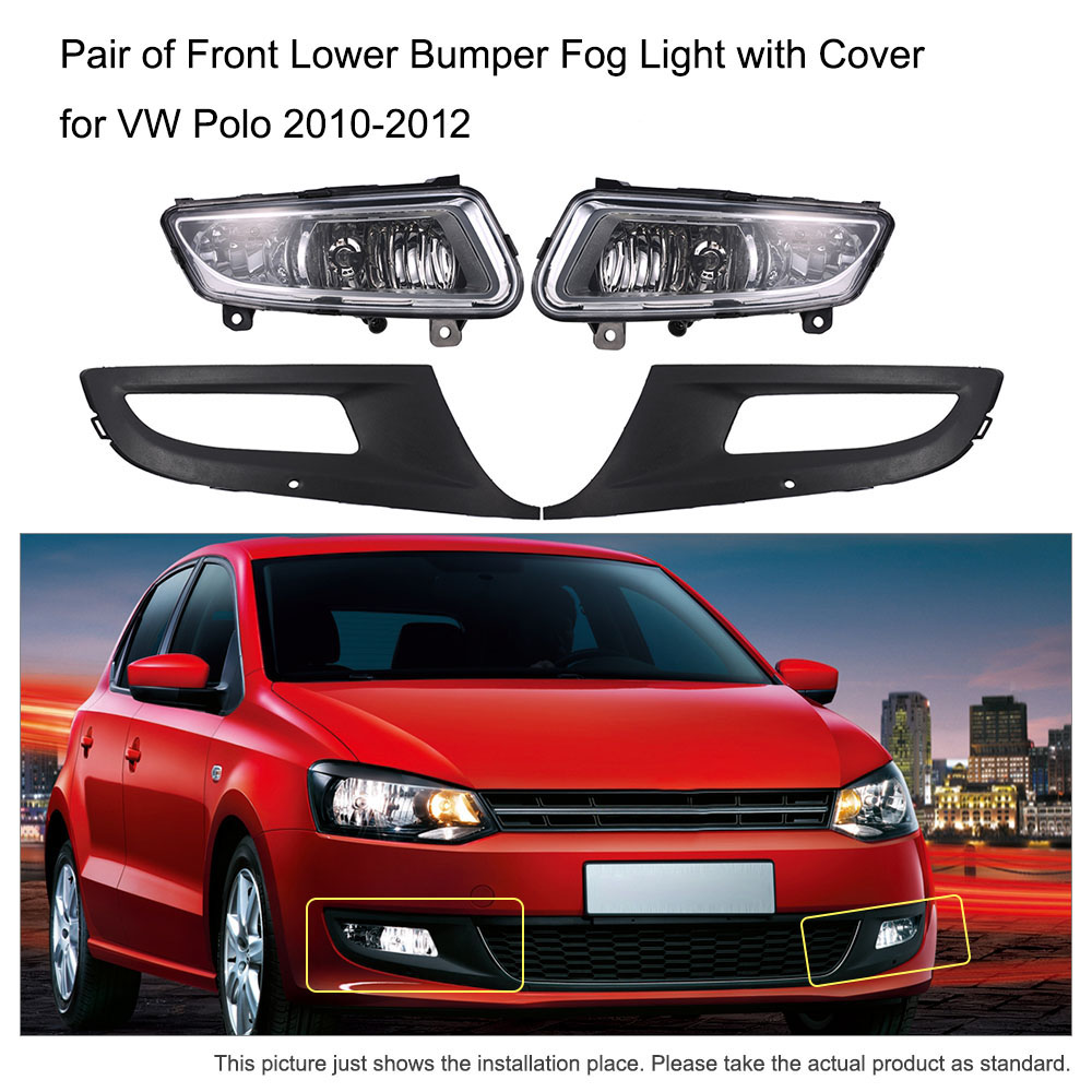 Car-styling Fog Light Pair of Front Lower Bumper Lamp with Cover Case Automobiles for VW Volkswagen Polo 2010-2012 6RD853665LH free shipping new pair halogen front fog lamp fog light for vw t5 polo crafter transporter campmob 7h0941699b 7h0941700b