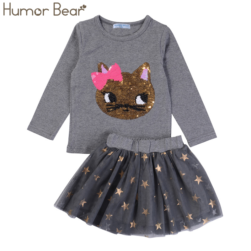 Humor Bear NEW Autumn Baby Girl Clothes Girls Clothing Sets Cartoon Sequins Cat Long Sleeve+Stars Skirt Casual 2PCS Girls Suits bear leader girls skirt sets 2018 new autumn&winter geometric pattern long sleeve sweater skirt 2pcs knitwear sets for 3 7 years