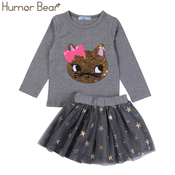 c276070c18e Humor Bear NEW Autumn Baby Girl Clothes Girls Clothing Sets Cartoon Sequins  Cat Long Sleeve+Stars Skirt Casual 2PCS Girls Suits