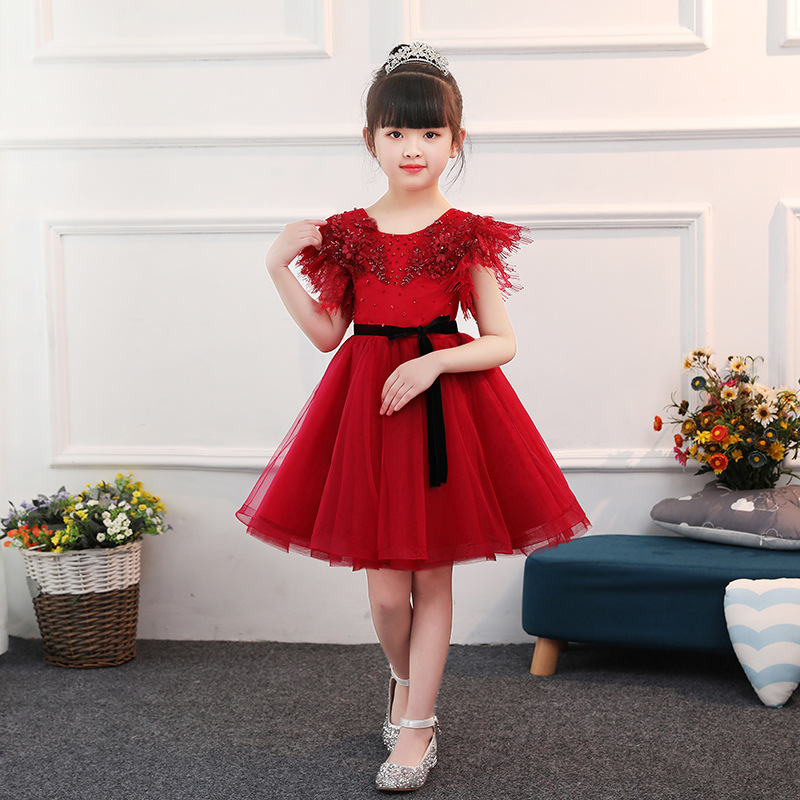 New Red   Flower     Girl     Dresses   Mesh Wedding Kids Pageant   Dress   Beading Ball Gown Princess   Dress   Birthday Party Gowns Short Sleeve