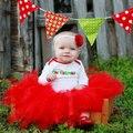 Vermelho tutu fofo saia de tule crianças dos miúdos da menina da criança do bebê traje mini vestido de baile vestido de festa de casamento de dança ballet pettiskirt crianças