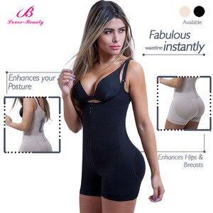 Image 2 - Lover güzellik Fajas Reductora fermuar ve klip lateks bel eğitmen firma kontrol vücut Shapewear Bodysuit Butt kaldırıcı şekillendirme