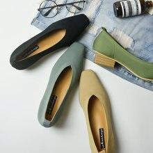Nouveau dames sapato pompes feminino respirant tricoté V carré orteil mocassins mocassins chaussures extensibles femmes med talons