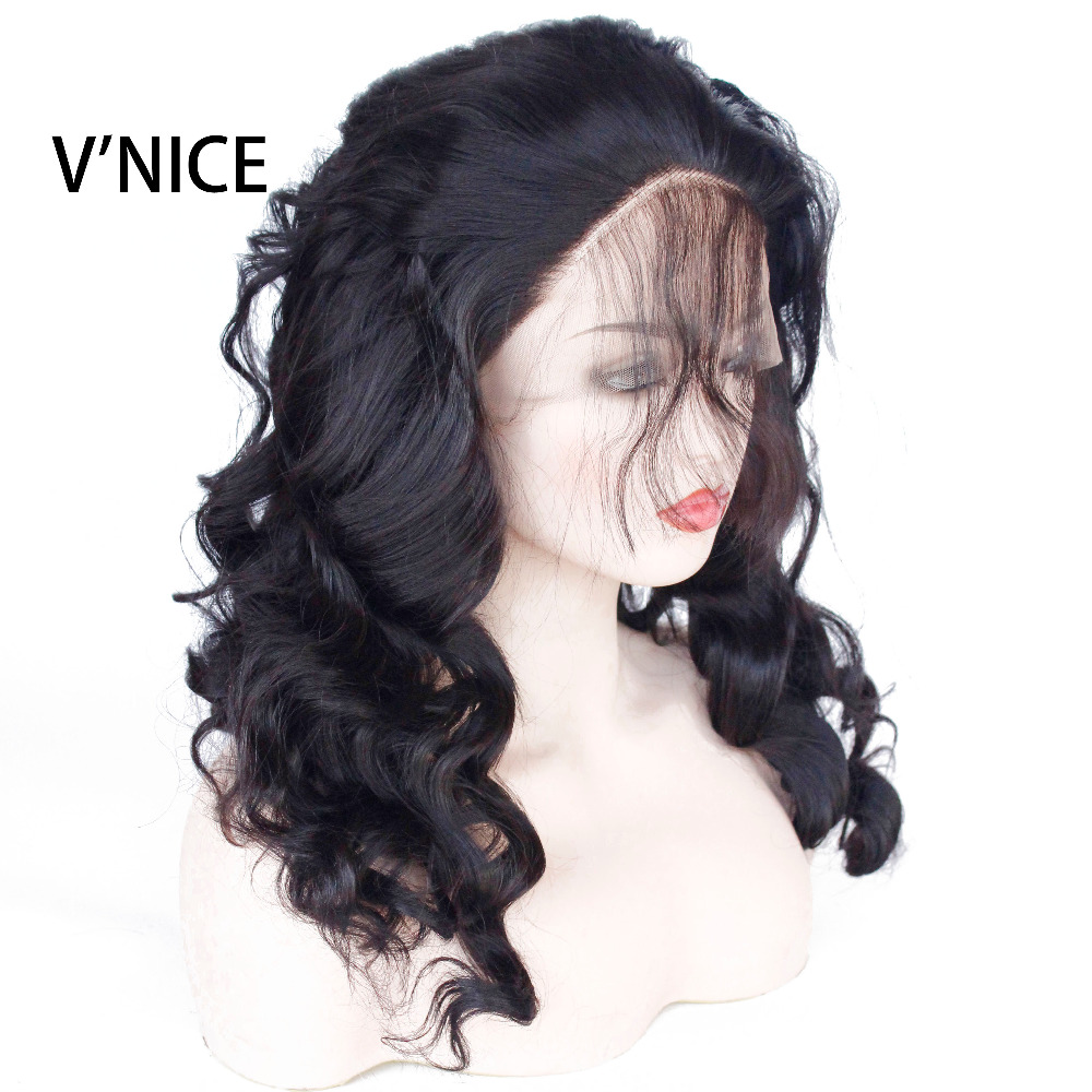 VNICE Body Wave Glueless Synthetic Lace Front WIgs with Baby Hair Black Color Front Lace Synthetic Heat Resistant Wig