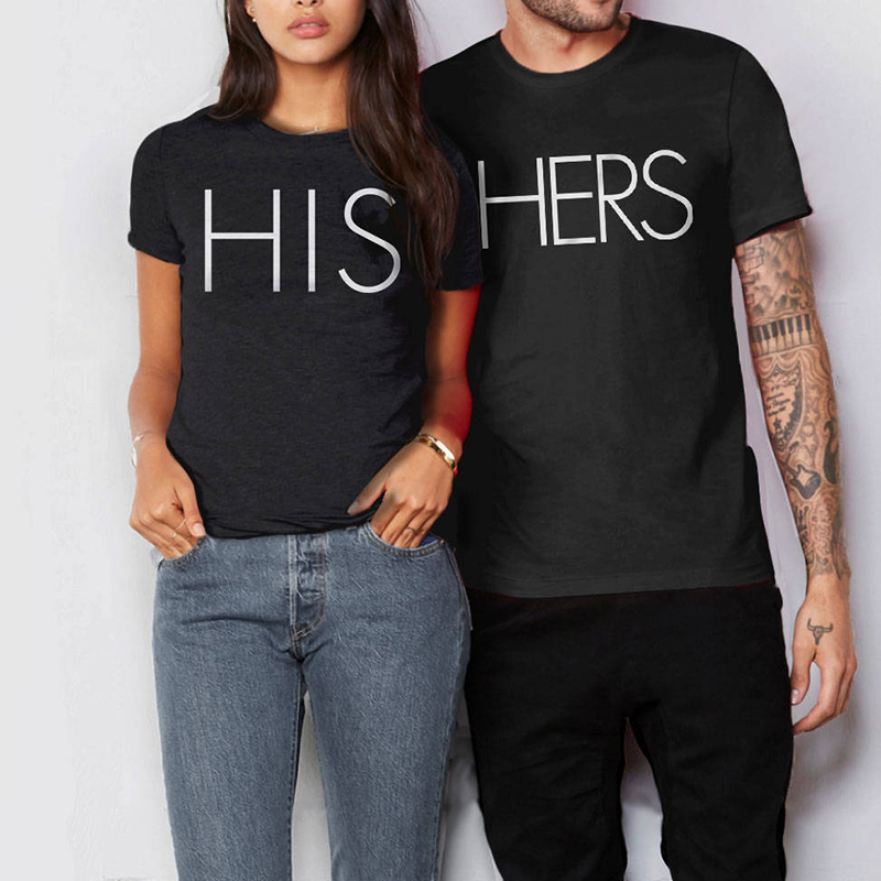 Hers Print T Shirts Valentine Day Women Cute Tshirt Streetwear Couple Top Tee Gothic Plus Size Woman Tops