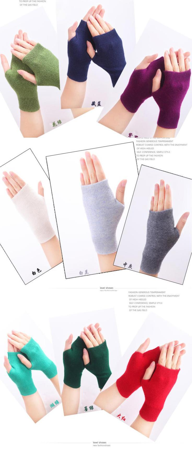 HTB1oE9SGFXXXXaPXpXXq6xXFXXXW - Genuine Fine Sheep Wool Mitt Exposed Finger Women's Gloves Winter Autumn Knitted for Women Fingerless Gloves Wrist Mittens