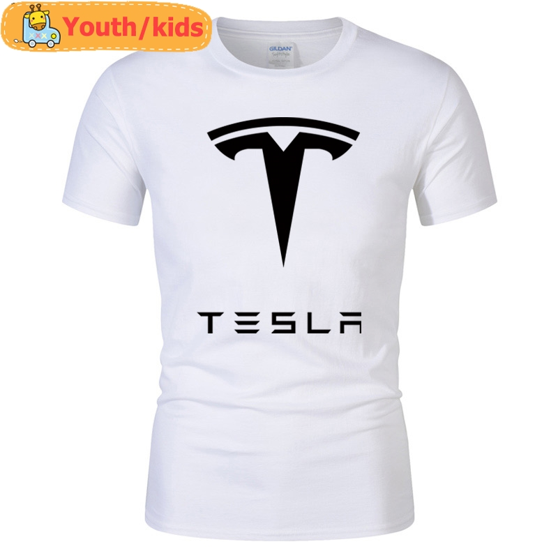 Tees Tops Ringer Short-Sleeve T-Shirts Printed Cotton Letter Tesla Casual Youth Round-Neck