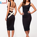 Sexy Backless Summer Dress 2016 New Fashion Women Night Club Party Dresses Rayon Sexy Sleeveless Bandage Dress Vestidos HL574