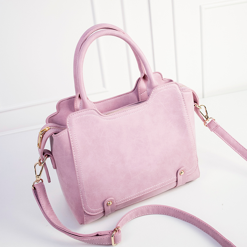 New Pink Color Top-Handle Bags Hot Sale Chic Nubuck Leather Female Handbag Candy