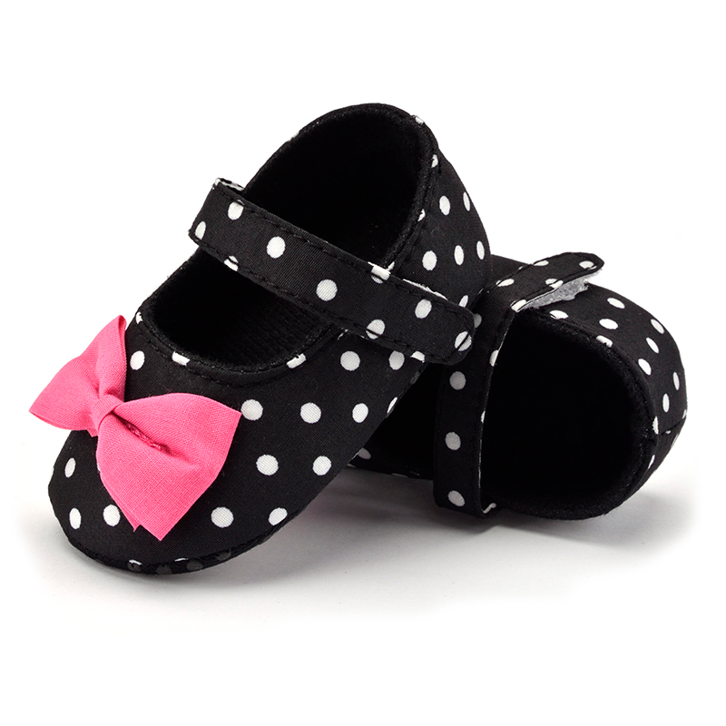Baby girls first walker infant baby shoes polka dot hook loop butterfly-knot toddler first steps crib babies shoes for girl cute