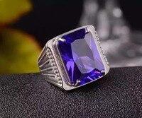 Мужское кольцо аметистовое кольцо Бесплатная доставка натуральный и настоящий аметист 925 серебро 13*18 мм большой цветной камень мужское кол