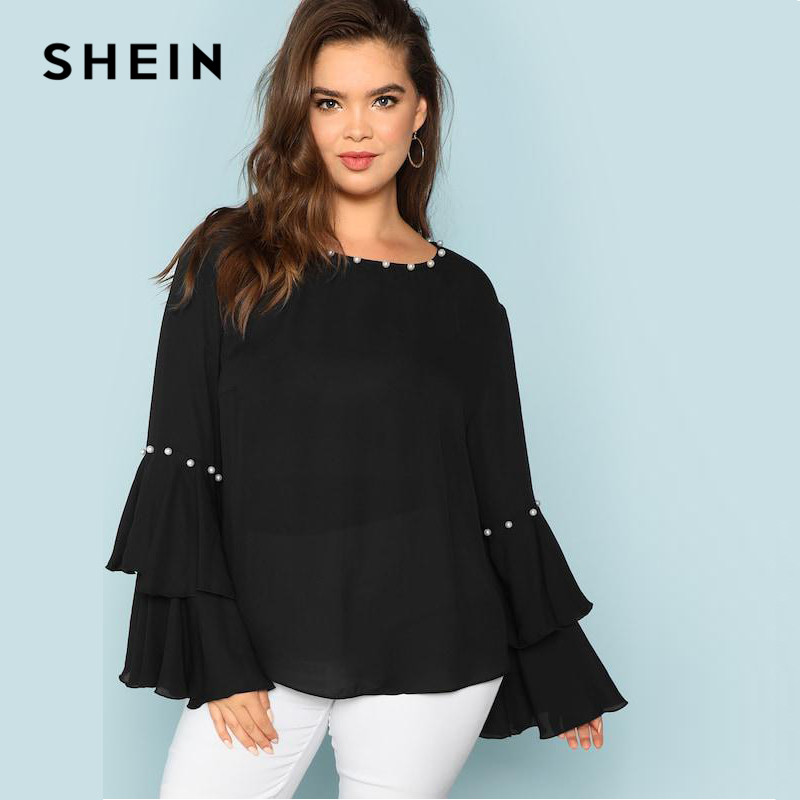 SHEIN Pearls Embellished Layered Ruffle Sleeve Plus Size Women Black Blouse 2018 Fashion Beaded Detail O-Neck Top Blouse