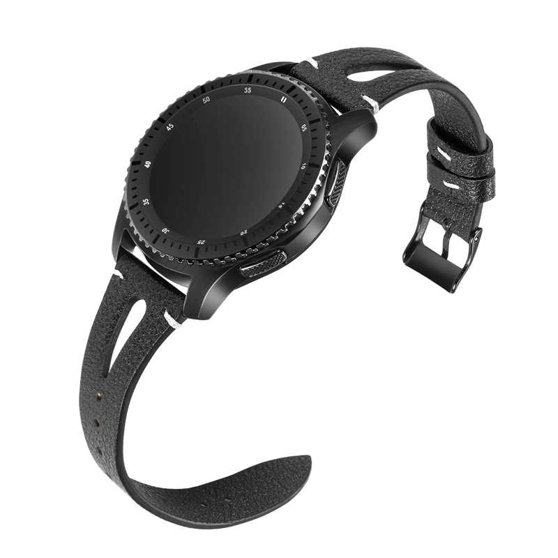 22 مللي متر سوار من الجلد الأصلي لسامسونج galaxy watch 46 مللي متر S3 الحدودي سماعة هواوي gt حزام huami amazfit 1/2 ساعة ذكية حزام