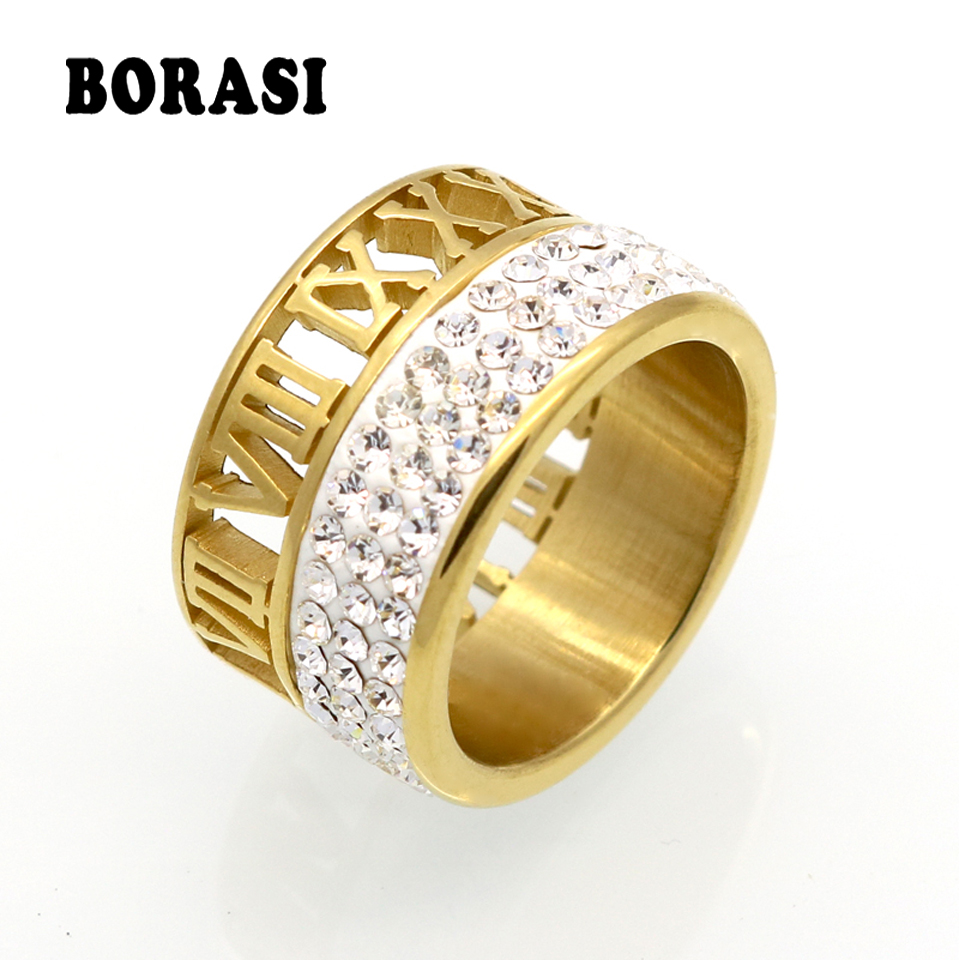 12mm Lebar 3 Row Crystal Rings Untuk Wanita anel Fashion Hollow Out Roman Number Brand Jewelry Gold Gold Ring Stainless Steel