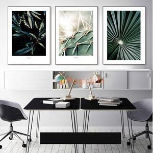 Image 2 - Настенная картина с изображением кактуса, холст для гостиной, искусственные зеленые растения, настенные картины без рамы