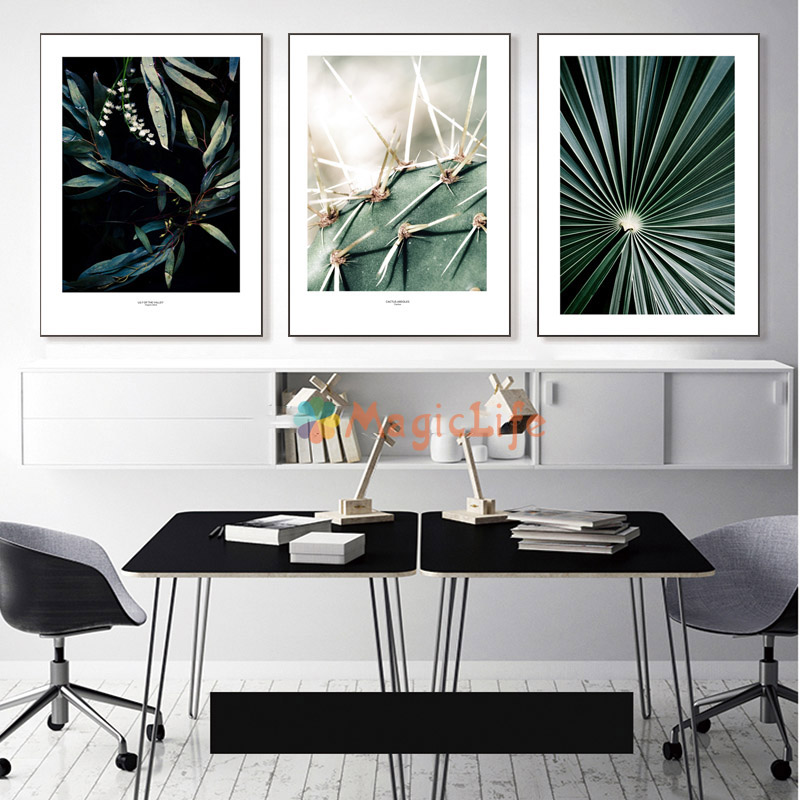 Image 2 - Cactus Wall Art Canvas Painting For Living Room Nordic Poster  Decoration Green Plants Wall Pictures Unframed-in Painting & Calligraphy from Home & Garden