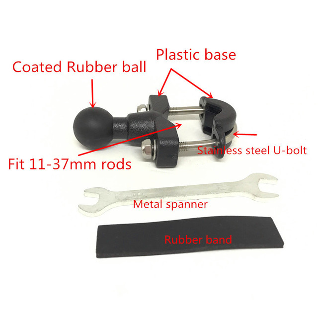 Jadkinsta Motorcycle Handlebar Rail Rods U-Bolt Clamp Mounting Base with 1 inch Ball for Gopro GPS work for Ram Mounts