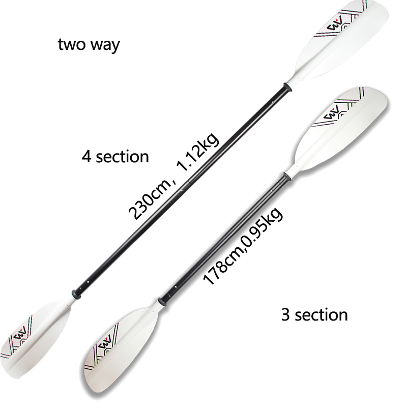 Double Blade Kayak Paddle Aluminium Oar 230cm For Canoe Inflatable Dinghy Raft White Color Paddle AQUA MARINA Brand 4 Section
