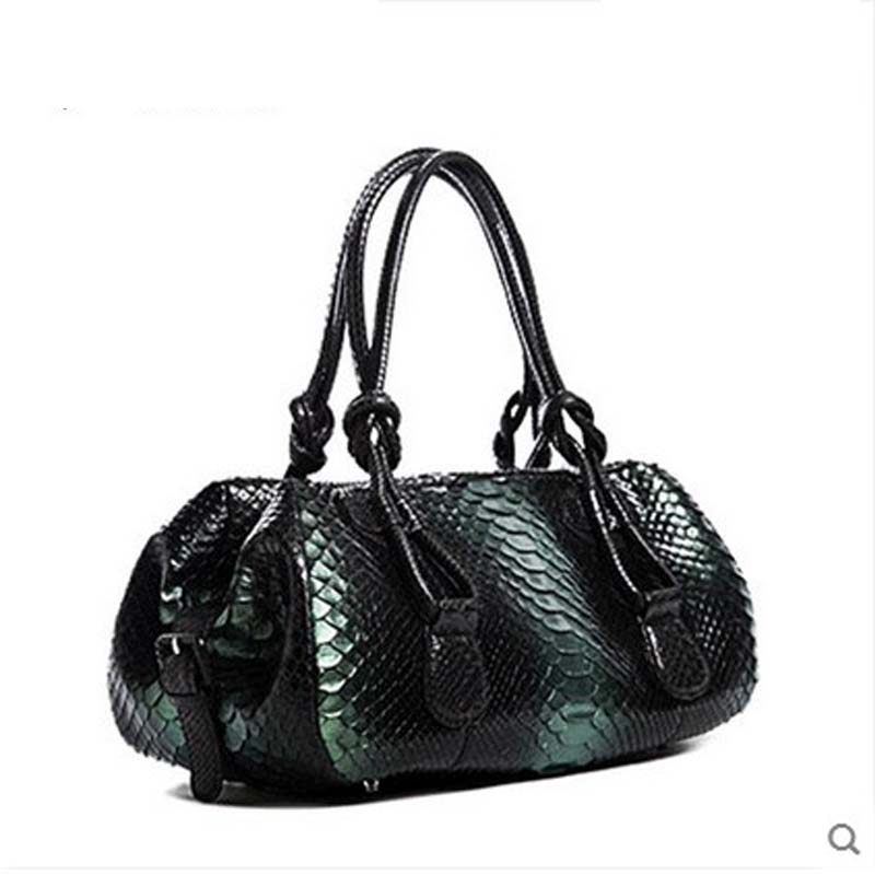 jialante new 2018 Python leather women handbag luxury women boston bag  luxury women handbag yuanyu 2018 new hot free shipping real python skin snake skin color women handbag elegant color serpentine fashion leather bag