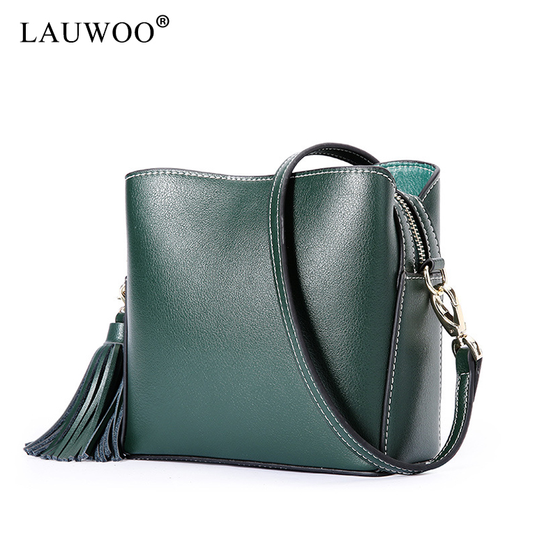 LAUWOO New Women Genuine Leather shoulderbag Female Casual Tassel Crossbody Bag Messenger Shoulder Bags